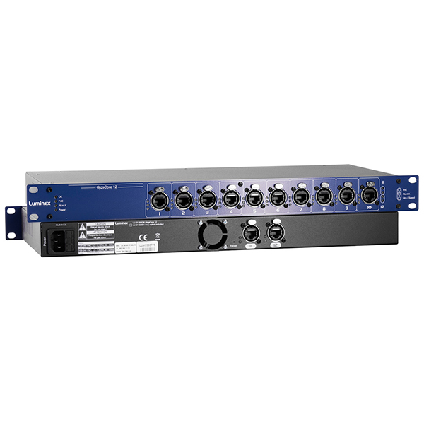 The Luminex GIGACORE 12 Network Switch Range feature Ethernet ports suitable for Lighting and AV protocols with redundant backup, port aggregation, and simple operation.