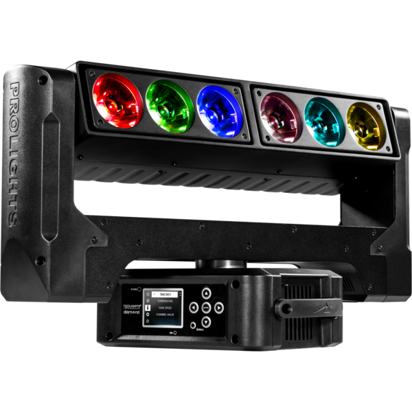 """The PROLIGHTS Air 6Pix LED Moving Batten is an LED """"blade"""" effect luminaire, featuring 6x 4.5° beams with a unique pivot for fan and knot looks."""