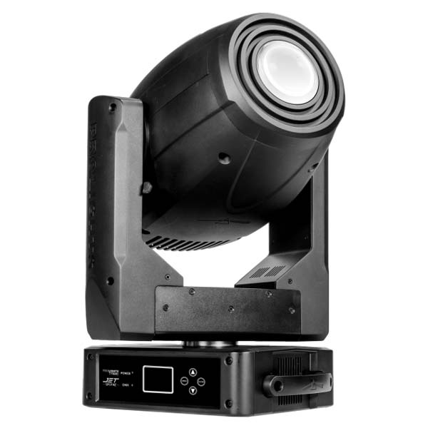 The PROLIGHTS Jet Spot4Z is a bright 180W 6800K LED spot luminaire designed to replace a 300W discharge fixture. Featuring full CMY colour mixing, its custom optical system delivers a consistent output with a flat field and crisp gobo projection right though the massive 8° to 40° zoom range.
